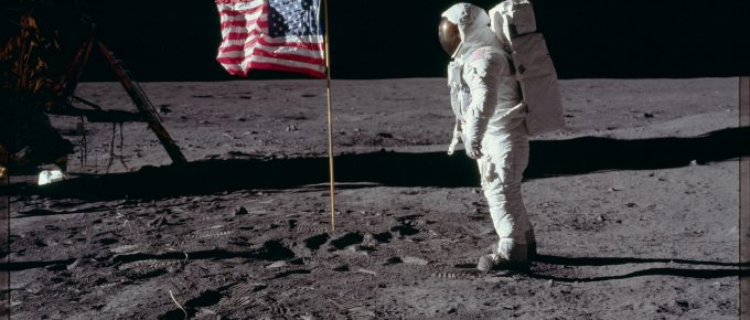 Neil Armstrong on the Moon during the journey of Apollo 11